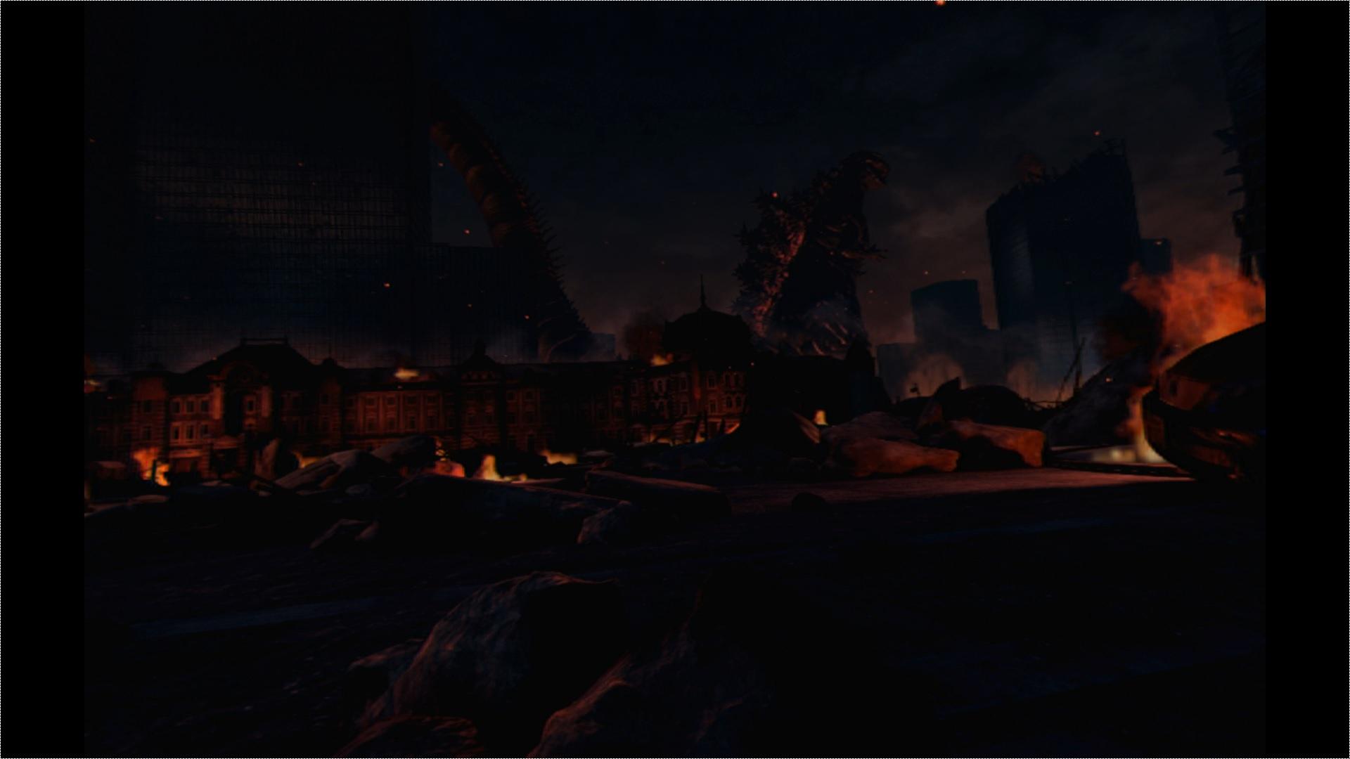 △ちょっと暗いですが、建物の影から現れるゴジラ。ここからプレイヤーの前にどんどん近づいてきます。